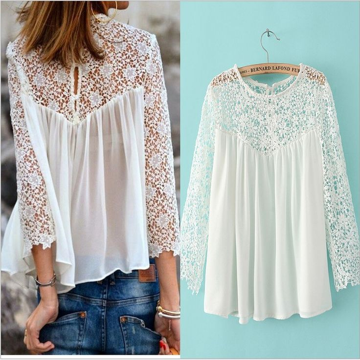 Cheap blouses and shirts, Buy Quality shirt sticker directly from China blouse lace Suppliers: brand white lace blouse for women/chiffon blouses renda blusa/long sleeve lac shirt crochet/sexy XXL plus size tops wome