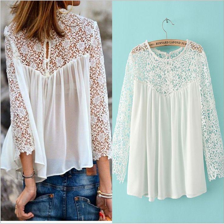 New 2015 Lace Blouses Blusas Femininas Summer Chiffon Lace Shirts Blusas Women…