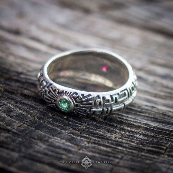#Swastika Ring, Hindu Buddhist #Symbol Jewelry with Ruby and Emerald Stones  The word 'swastika' is a Sanskrit word ('svasktika') meaning 'It is', 'Well Being', 'Good Existen... #etsy #symbol #swastika