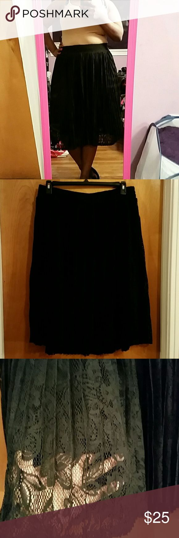 Black skater skirt Floral pattern lacy skater skirt. Flowy, and airy. Really pretty, simple with nice detail. Brand new only tried on twice. torrid Skirts Circle & Skater