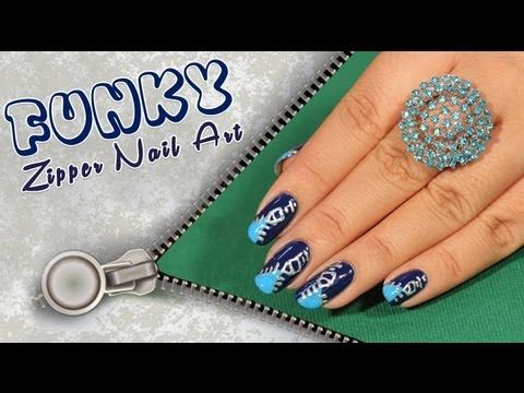Funky Zip Nail Art Design Tutorial For Beginners!!!!! Are you still just coloring your nails? Don't you think that trend has run its course? Add some attitude to your nails with this new & funky nail art i.e. Zip Nail Art!! Zips add cool looks to your dressing and accessories... It's time to try it on your nails!!! Here's your guide to do it!!  Visit for buy Nail Art kit:- http://khoobsurati.com/make-up/nail-art  Visit for Nail Art Tutorial:- http://www.youtube.com/watch?v=uJcK-ZkTAdU
