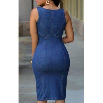 Sexy U-Neck Sleeveless Bodycon Zip Up Women's Denim Dress (BLUE,L) in Dresses | DressLily.com