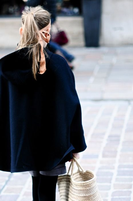 cape, high pony and scarf