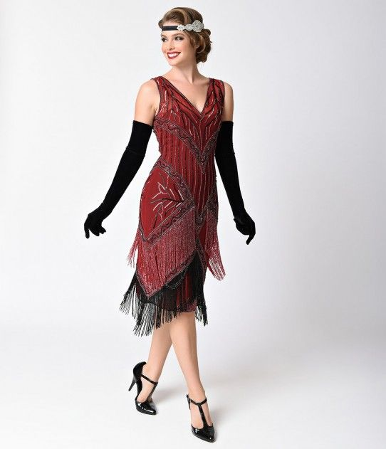 Unique Vintage 1920s Style Burgundy & Black Beaded Remarque Fringe Flapper Dress