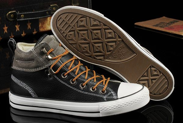 416ae5786933c Converse Black Leather Grey Suede Padded Collar High Tops Chuck ...