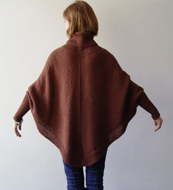 English Brown Poncho Woman Poncho Warm Poncho by Bietas on Etsy