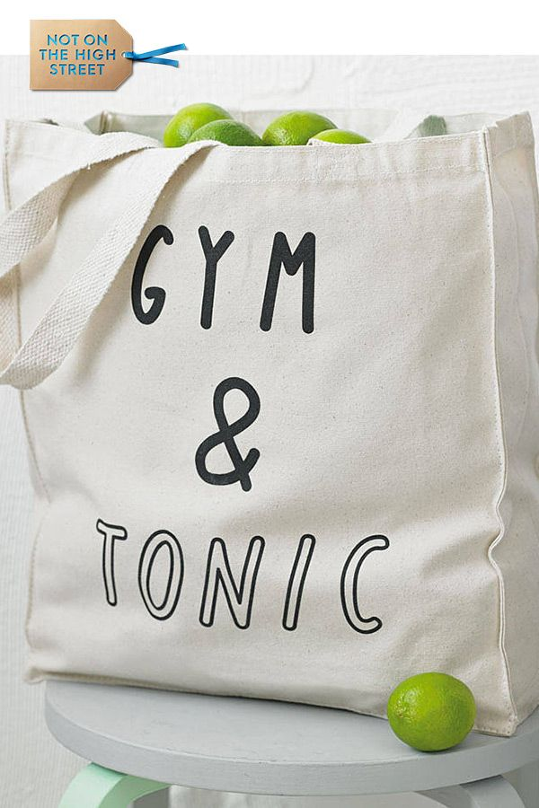 Large Canvas Tote Bag Gym and Tonic Exercise Yoga Fitness Workout Gin Party