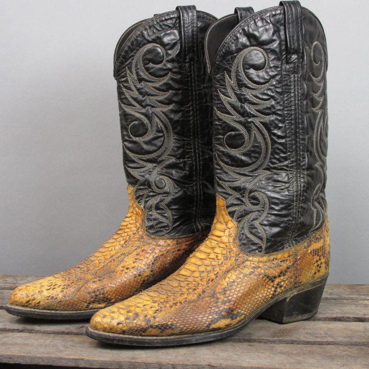 Vintage Acme Exotic Snakeskin Rustic Cowboy Boots