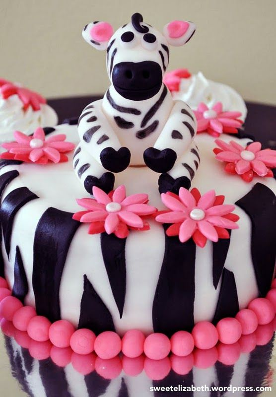 Zebra Cake-- I'm thinking cheetah print for Alisha's baby shower. Since her nursery is lion king theme.
