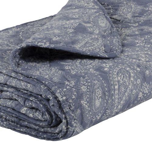 Plaid matelassé coton bleu motif cachemire - 130x180cm