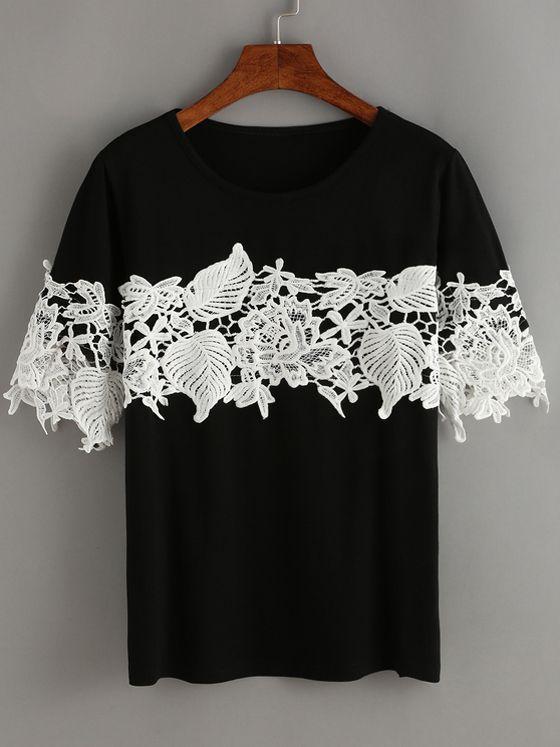 Black Contrast Lace T-Shirt