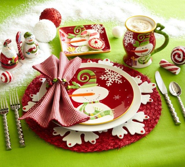 57 Beautiful Christmas Dinnerware Sets: Bring some fun to the table with Pier 1 Jolly Holiday Dinnerware and Santa & Snowman Salt & Pepper Set