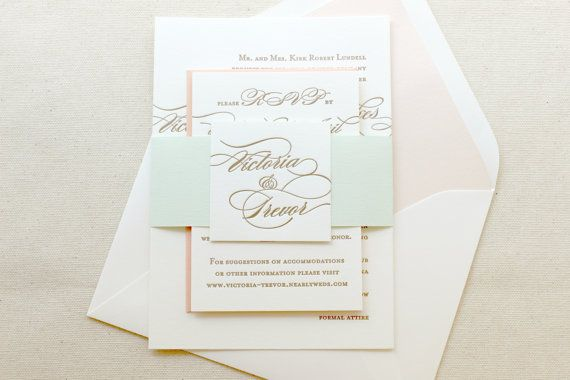 The Begonia Suite Classic Letterpress Wedding by DinglewoodDesign