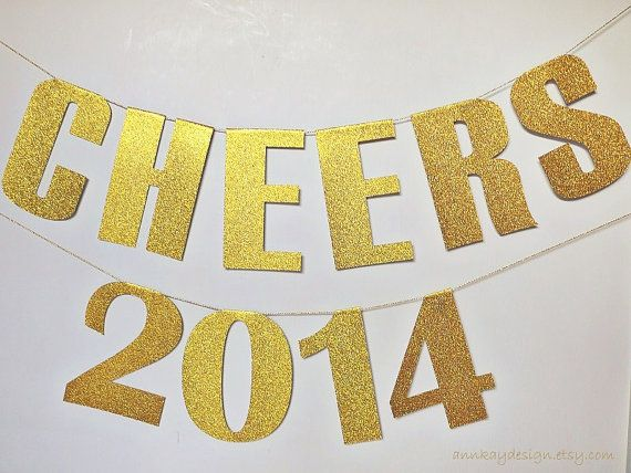 2014 Banner Gold Glitter New Years Eve Paper by AnnKayDesign