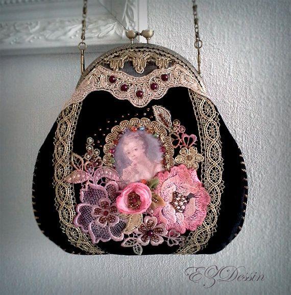 Check out Victorian vintage style Bag, Handbag this is velours .100% handmade  handbag.Bag High Fashion.Handbag patchwork crazy quilt on ezdessin