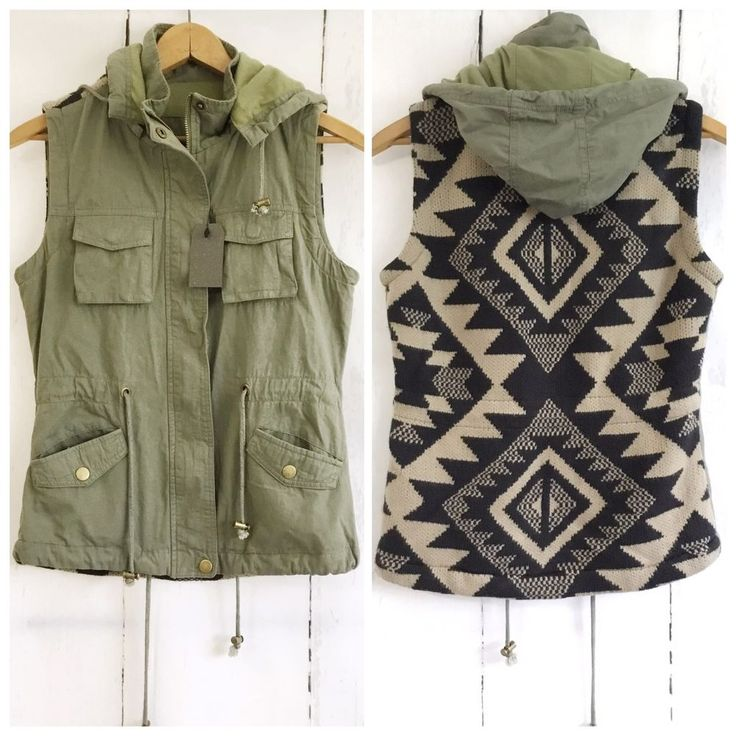 Aztec Army Green Utility Vest Olive Hooded Zip Up Sleeveless Cargo Boho Size L | Clothing, Shoes & Accessories, Women's Clothing, Vests | eBay!
