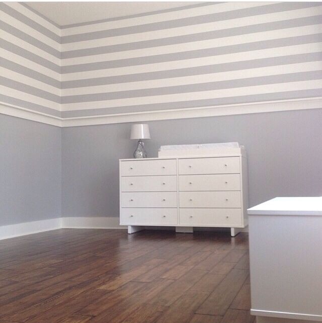 Beautiful Painted Stripes Sherwin Williams Lazy Gray And