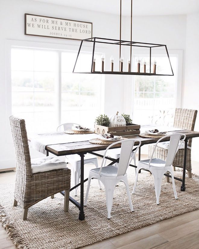 Casual Farmhouse Dining Room With Linear Chandelier