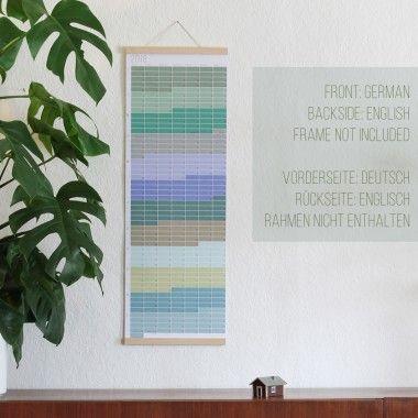 Wandkalender 2018   Jahresplaner 2018   Pastell Aqua Petrol Türkis Natur   Beidseitig bedruckt: Deutsch & Englisch   100% umweltfreundlich gedruckt   Limitierte Auflage #wallplanner2018 #Kalender2018 #Wandkalender #pastell