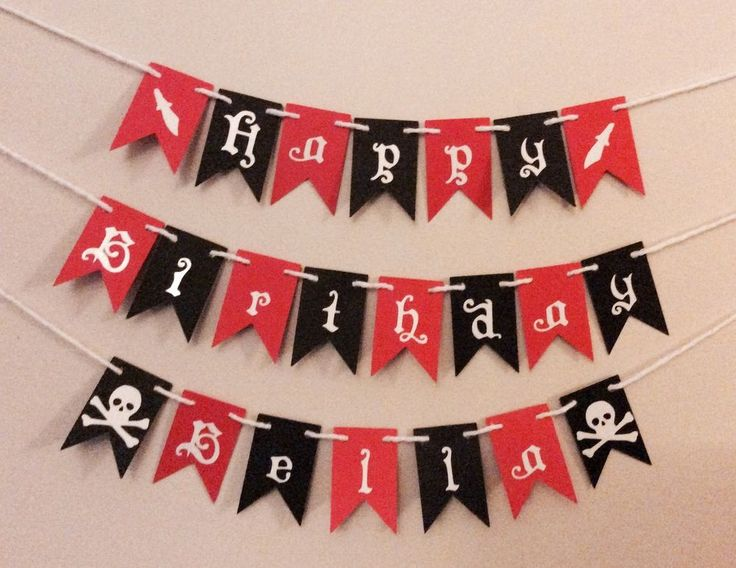 Themed any Name personalised Cake Bunting -Flags, Garland, for PIRATE PARTY