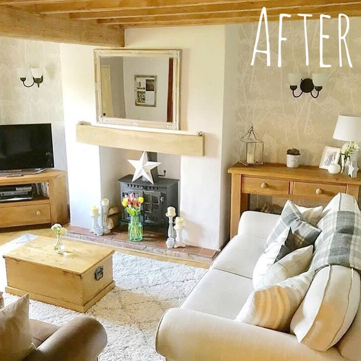 Sitting on the tram browsing some old pics and thought I'd share another before and after. (Swipe for the before). Our living room this time. If you've got any before and after shots please tag me, I love them! #beforeandafter #cottagelivingroom #interiormakeover #woodburner #woodenchest #cottagebeams #greydecor