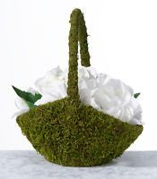 Lillian Rose Natural Moss Rustic Woodland Themed  Wedding Flower Girl Basket
