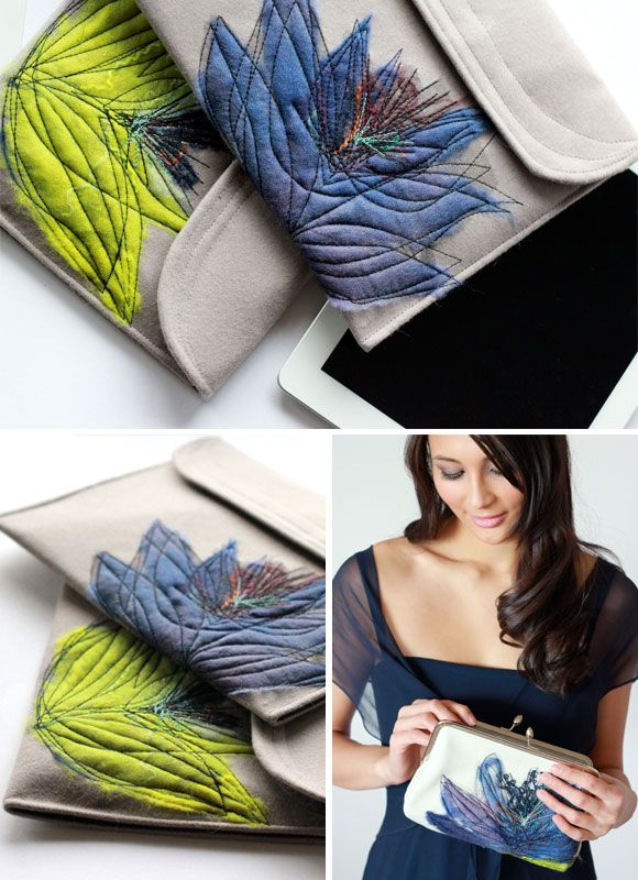pretty hand made clutch bags, with wool roving