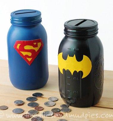 Adorable mason jar superhero banks // Szuperhősös malacpersely befőttes üvegekből // Mindy - craft & DIY tutorial collection