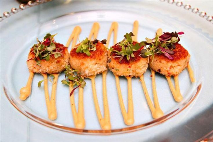 Crab cakes with micro greens and sauce remoulade in 2020