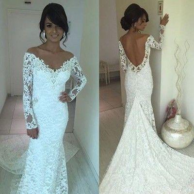 H267 off the shoulder long sleeve lace wedding dress sexy open back mermaid robe de mariage chapel train luxury vestido de noiva