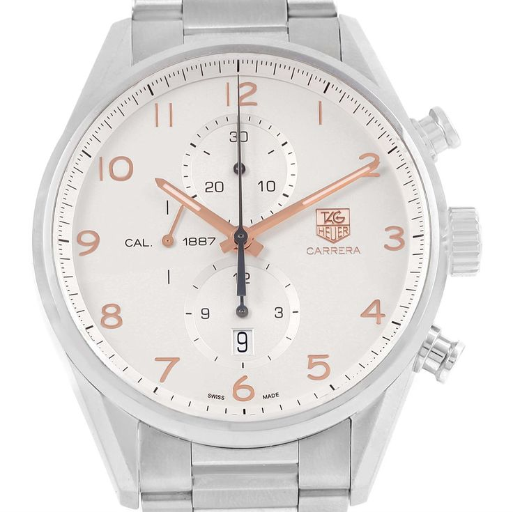 15987 Tag Heuer Carrera Chronograph Silver Dial Mens Watch CAR2012 SwissWatchExpo