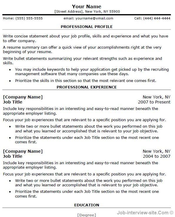 Word Professional Resume Template - Hlwhy