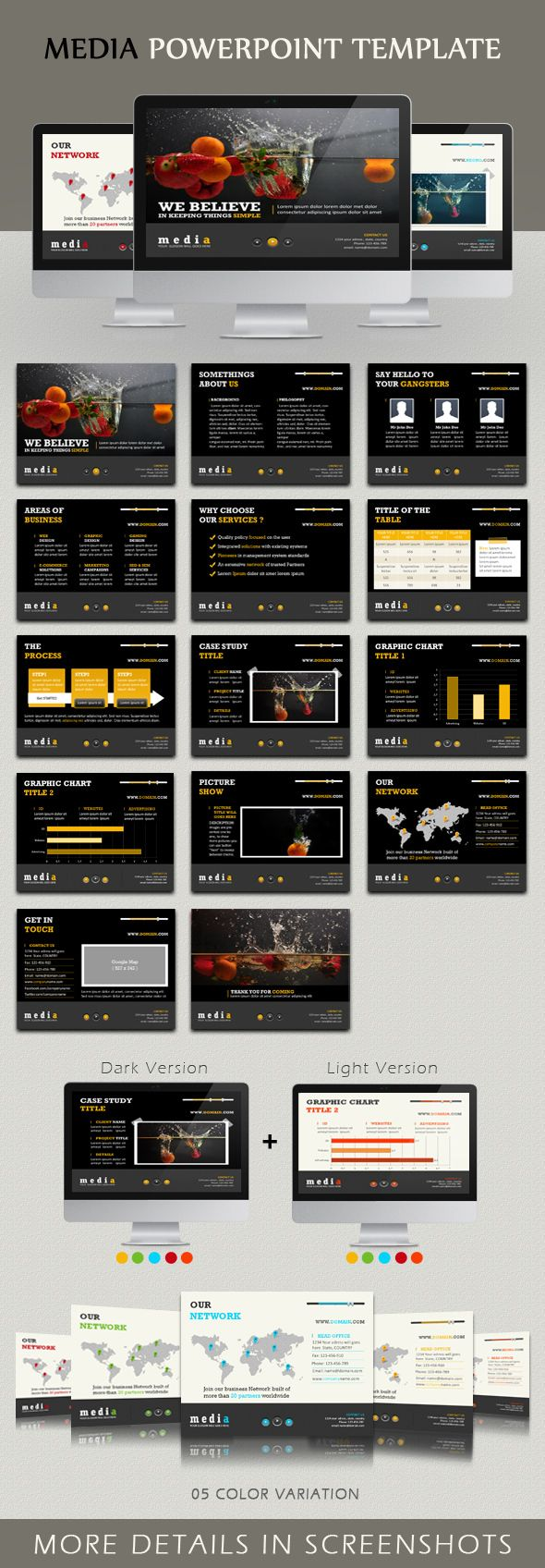 Media Powerpoint template by kh2838 Studio, via Behance