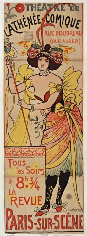 Théâtre de l'Athénée-Comique, Rue Boudreau (rue Auber) 1895.  Lucien Métivet (1863-1932), illustrateur.    Bibliothèque nationale de France    Wikimedia