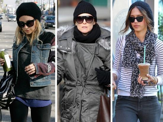 SVART BOMULL: Nicole Richie, Julianne Moore og Jessica Alba er alle fans av svarte luer i bomull, og bruker dem også som tilbehør når det ikke er spesielt kaldt.
