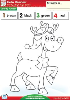 """Hello, Reindeer"" Color By Number Christmas Worksheet from Super Simple Learning. #preK #kindergarten #ESL"