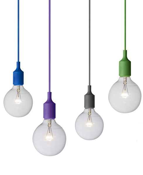 BARE CHEEK | R800 each | The E27 from Entrepo makes us smile with its oversized bulb and choice of cords in bright colours. http://www.goodhousekeeping.co.za/en/2013/02/five-great-pendant-lights/#