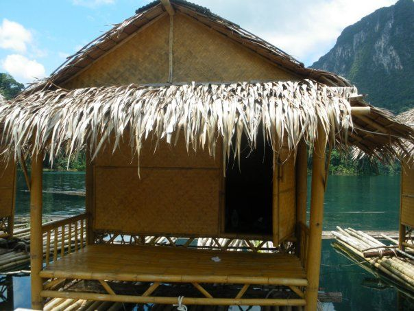 Thailand floating river huts Khao Sok National Park