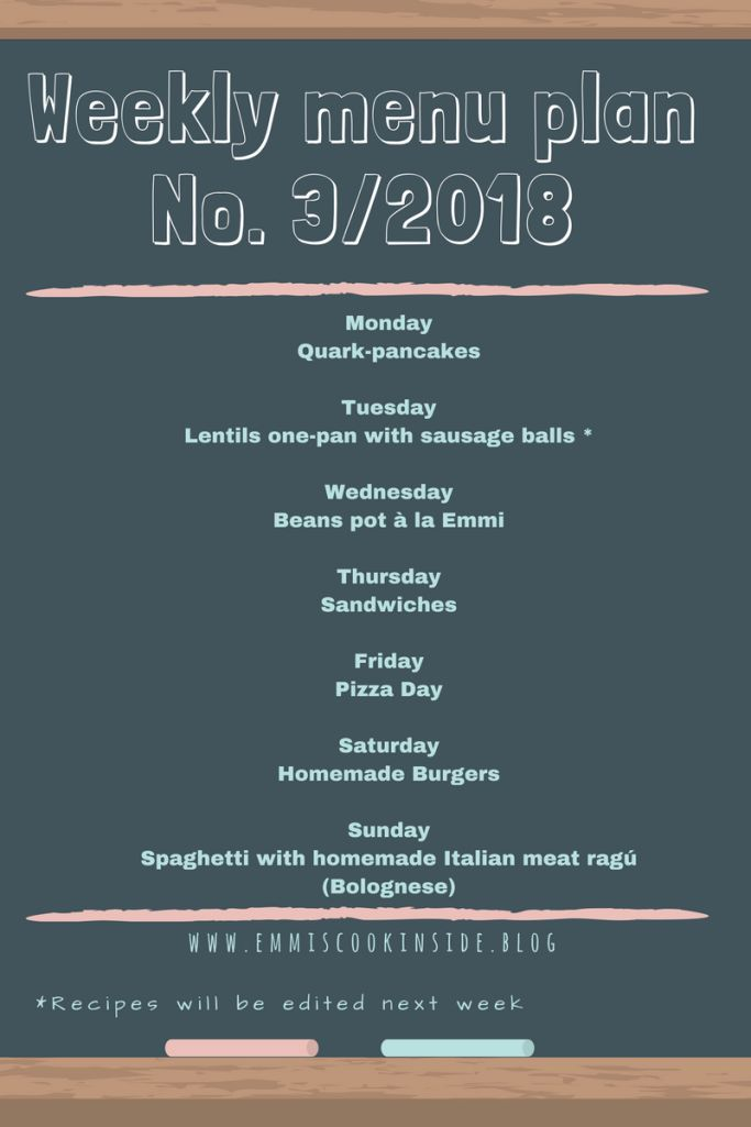Weekly menu plan No. 3/2018 - easy recipes for every day!