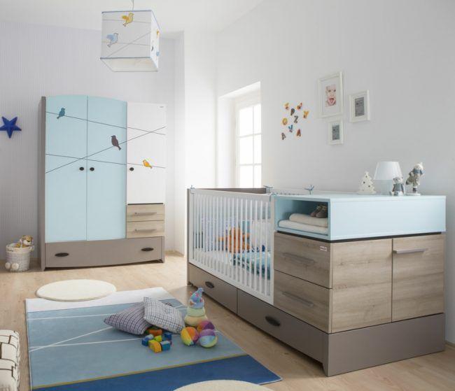 Babyzimmer komplett Möbel Kleiderschrank verwandbares Junior Bett Wickelaufsatz