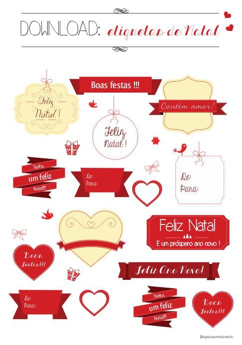 Download de etiquetas de Natal | http://www.blogdocasamento.com.br/faca-voce-mesmo/papelaria/download-de-etiquetas-de-natal/