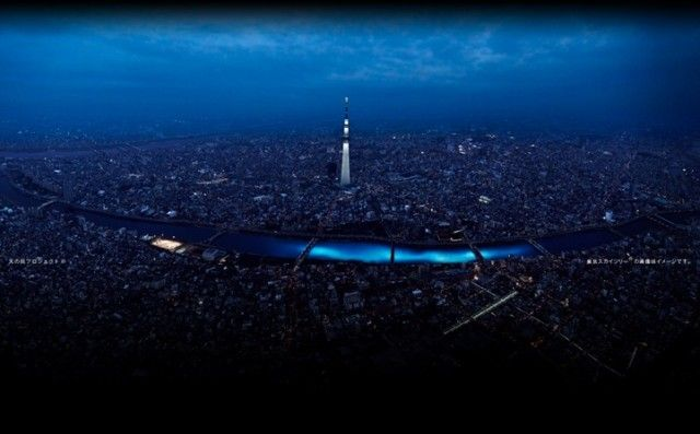 As part of the recent Tokyo Hotaru Festival, 100,000 illuminated blue LEDs were released in the Sumida River. The massive installation of solar-powered spheres was meant to mimic a swarm of fireflies that twisted and bobbed along the river by moonlight.