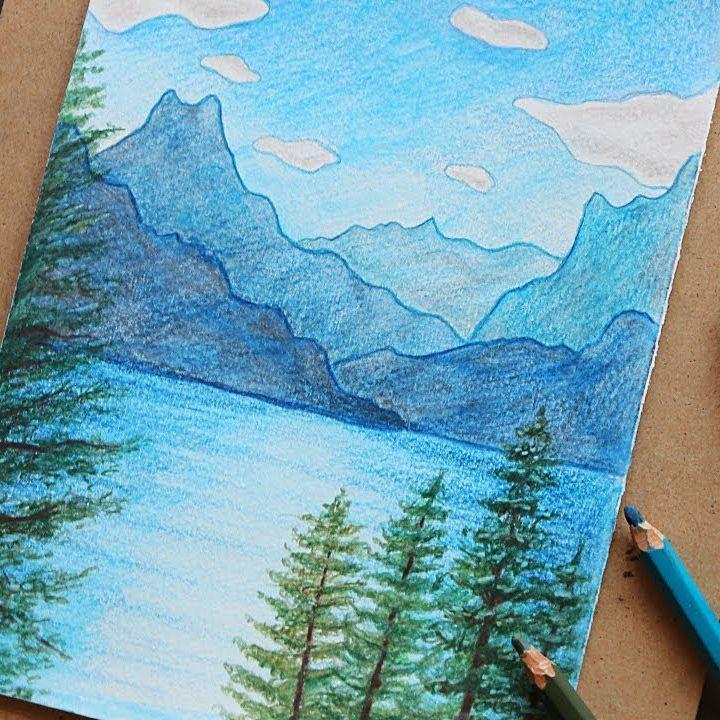 تعليم الرسم كيف ترسم منظر طبيعي بالوان الخشب المائية سماء و بحر وجبال واشجار رسم منظر الوان خشب تعلم Art Drawings Simple Art Collage Wall Colorful Art
