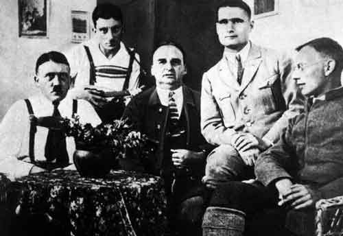 Hess in Prison With Hitler | Jewish Virtual Library. Hitler, Emill Maurice, H. Kriebl, Rudolf Hess, F. Weber (L-R).