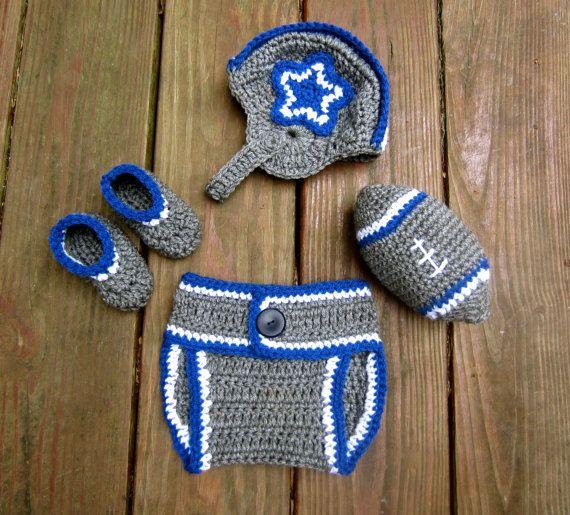 Dallas Cowboys Baby Set- Crochet Knit Baby Helmet- Baby hat, booties, diaper cover, stuffed football- Baby boy or baby girl Dallas Cowboys