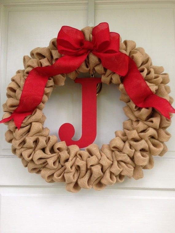 2013 Light Brown Christmas Burlap Wreath, Brown Christmas Decor Ideas #2013  #diy #
