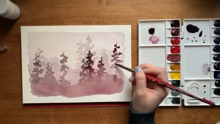 Layered Watercolor Misty Forest Forest Layered Link Misty