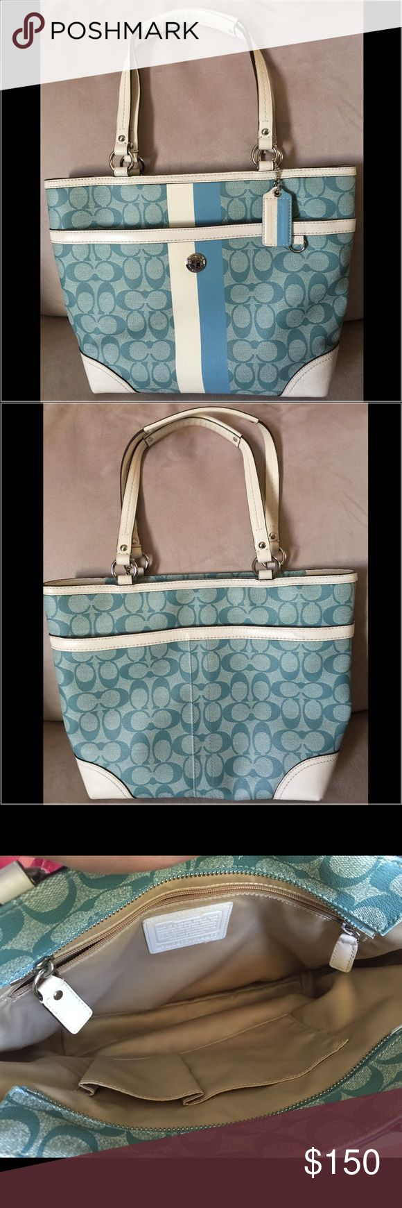 Authentic Light Blue and White Coach Hobo Bag Authentic Beautiful purse that's brand new but without a tag. Never worn. Excellent condition. No marks, stains, scuffs or rips. Coach Bags Hobos