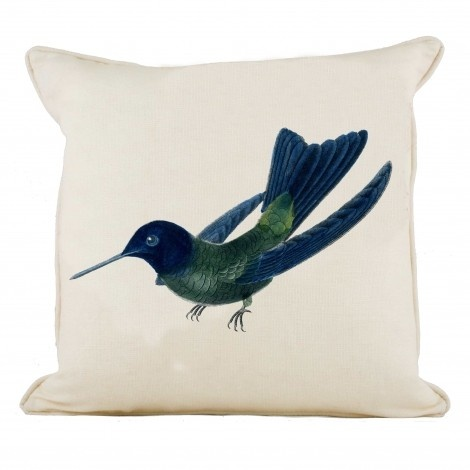 Dark Blue and Green Hummingbird  Cushion - This beautiful pure linen cushion features our trademark illustrations from encyclopediae of natural history - this time with a gorgeous swooping hummingbird. Available in white or natural linen, each cushion is piped, has a concealed zip and a custom-made feather inner. Made in England. Size: 45 cm x 45 cm