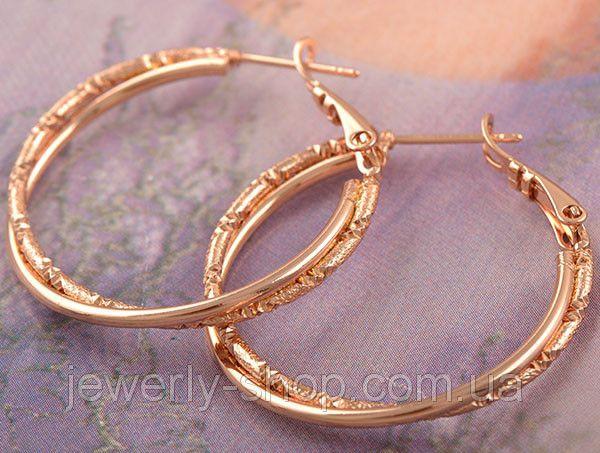 Классические золотые серьги обручи розовое золото, фото 1